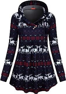 Women V Neck Hooded Sweatshirt Long Sleeve Empire Waist Tops Tunic