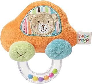 Fehn 091182 Rasselring Auto / Greifling zum Rasseln, Fühlen, Spielen mit kuschelweichem Stoff-Auto, für Babys und Kleinkinder ab 0 Monaten