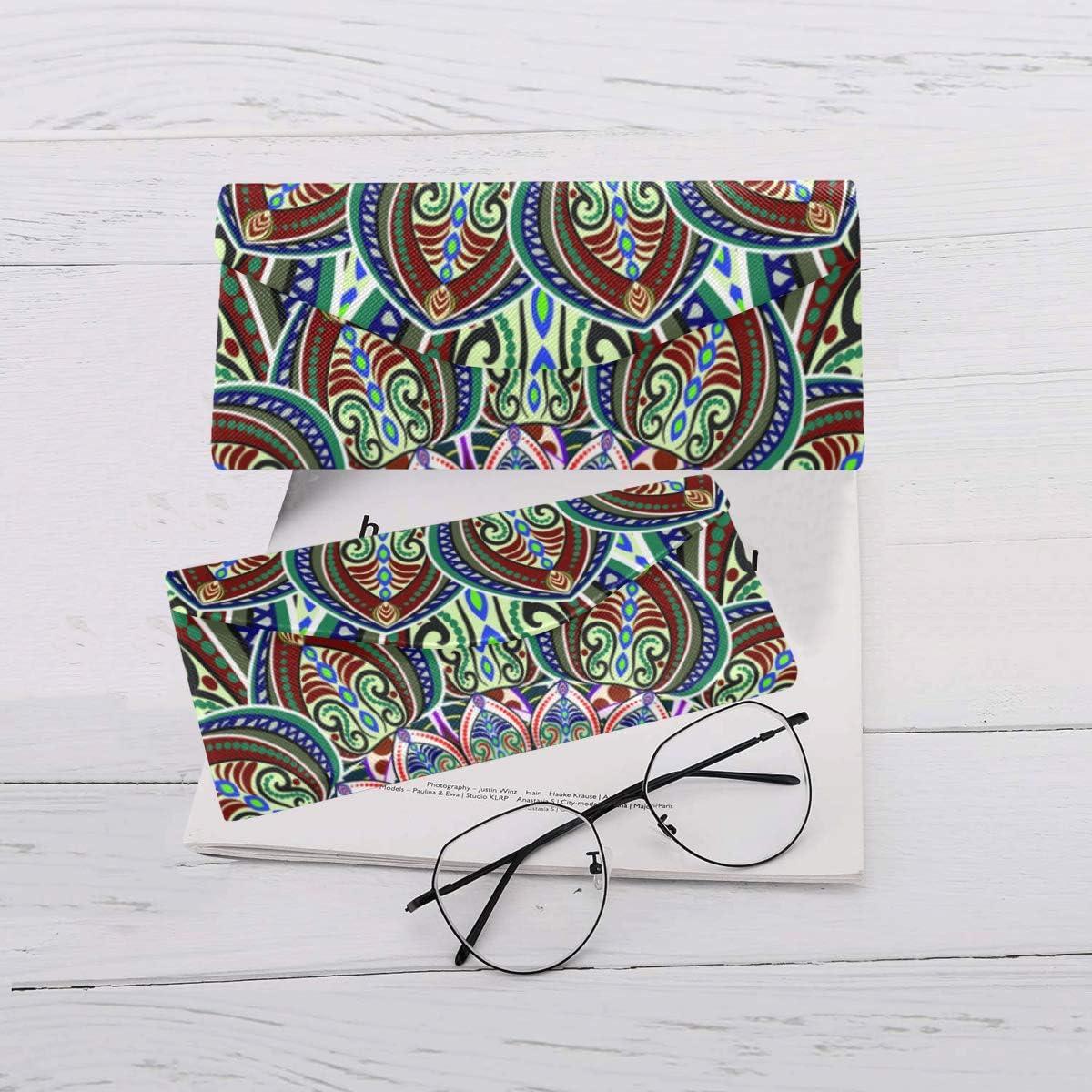 Glasses Case India Mandala Eyeglass Case Leather Magnetic Folding Hard Case Sunglasses Eyewear Protective Case