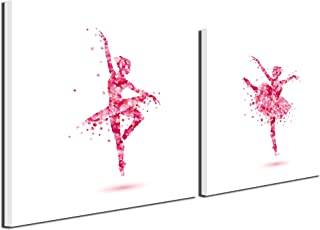 Gardenia Art - Flowers Dancing Ballet Girls Canvas Prints Wall Art Paintings Abstract Women Wall Artworks Pictures for Nursery Living Room Bedroom Decoration, 12x12 inch/piece, 2 Panels