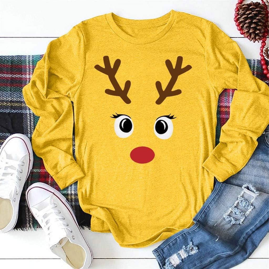 LOPILY Weihnachtspullover Damen Plus Size Rudolph Gedruckte Langarmshirts mit Rundhalsausschnitt Lustig Weihnachtsshirts /Übergr/ö/ße Weihnachten Strickpullover Norweger Damen Pullover