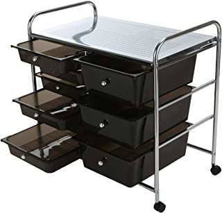 Mind Reader Storage Drawer Rolling Utility Cart, 9 Drawer Organizer, Black