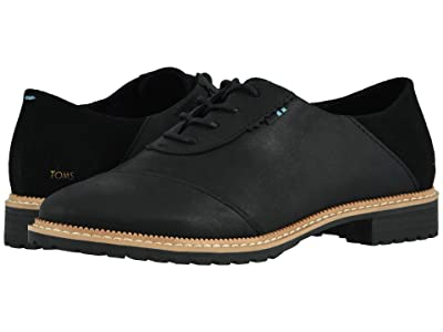 TOMS Ainsley (Black Leather/Suede) Women