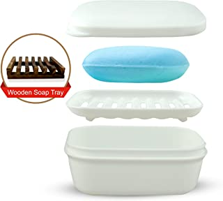Le RoiG Travel Size Shower Leak Proof Plastic Soap Dish Saver Holder Soap Box Case Container with Lid Cover and Soap Drainer Tray and Natural Wood Soap Dish Tray for Kitchen Bathroom Gym Camping