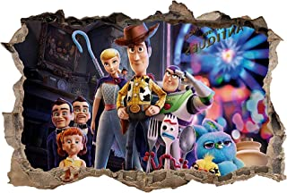 Toy Story 4 Decal 3D Smashed Wall Sticker Art Mural Woody Buzz Lightyear J1433, Giant