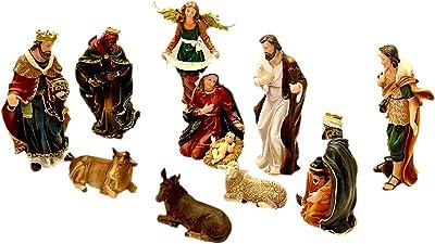 Nacimiento Navideño clásico, Jesus, Maria, Jose , 3 Reyes Magos y Pastorcito de 12 piezas y 11 pulgadas / 11 inches Nativity Christmas 12 Pcs Set