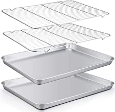 TeamFar Baking Sheet with Rack Set of 4, 20''×14''×1.2'', Half Size Stainless Steel Cookie Sheet Baking Pans with Cooling Rack Set, Non Toxic & Rust Free, Mirror Finish & Easy Clean, 2 Pans & 2 Racks