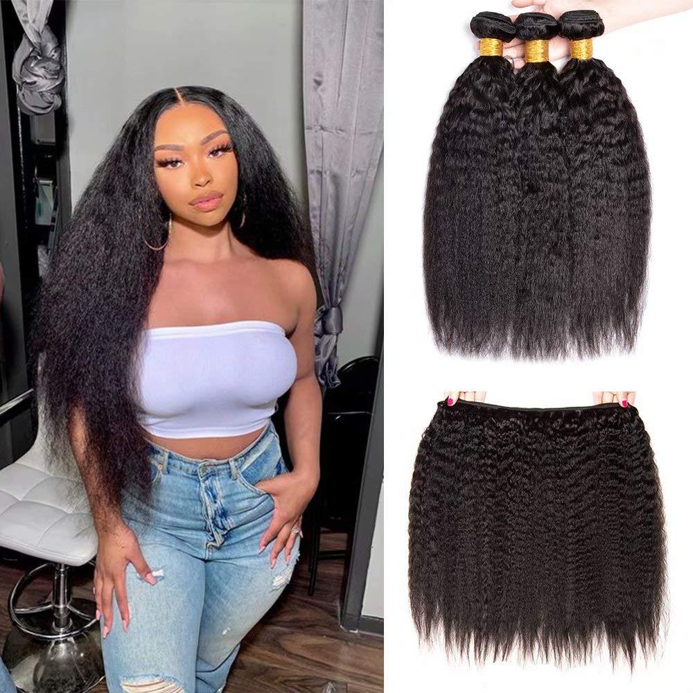 Brazilian Kinky Straight Human Hair Bundles Challenge the lowest price of Japan ☆ B 24 100g Large discharge sale 20 22 Inch
