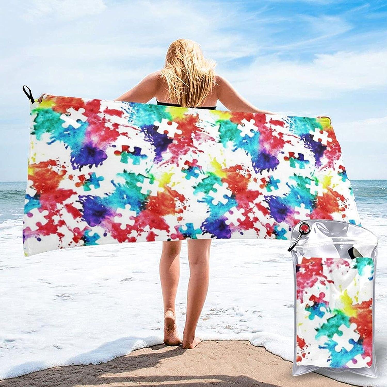 N\\A Regular dealer Autism Awareness Watercolor 70% OFF Outlet Splatter Beach Towel Fabric Bat