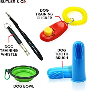 Dog Training Whistle 4pce KIT | 1x Ultrasonic Whistle with Lanyard, 1 x Clicker, 1 x Collapsible Bowl 2 x Finger Brush. Stop/Anti Dogs, Puppy or Pet Barking at Neighbors or Cat.
