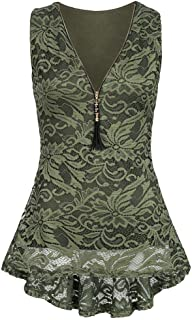 27d7a845bae61 TWGONE Tank Top Dress for Women Casual Floral Lace Zip Up Sleeveless Slim  Vest Pure T