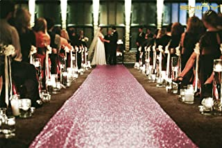 ShinyBeauty Sequin Aisle Runners 2Ft x 15Ft Pink Gold Carpet Runner for Party Glitter Runner for Wedding N116