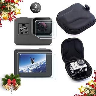 Kits de Accesorios de Protector de Pantalla Mojosketch para GoPro Hero 7 Black Only / 6/5/2018 [Paquete de 2] + EVA Caja de Almacenamiento portátil Bolsa de Viaje