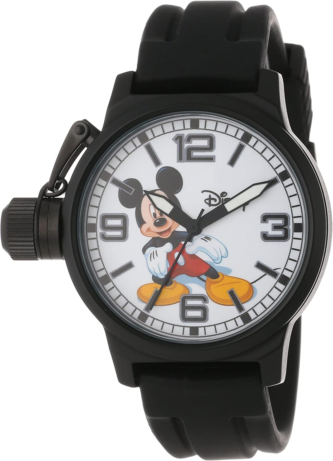 Disney Men's W000592 Mickey Dedication Crown Time sale Watch Mouse Protector