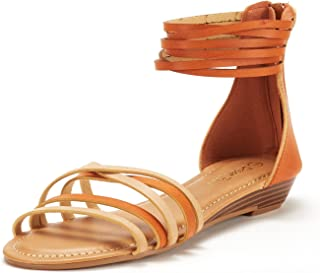 Women's Juuly_02 Gladiator Ankle Strap Flat Sandals