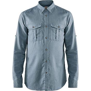 FJÄLLRÄVEN Övik Travel Shirt LS M Camisa de Manga Larga con 2 Bolsillos en el Pecho, Hombre, Azul (Clay Blue), L: Amazon.es: Deportes y aire libre