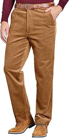 Amazon Com Pantalones De Algodon De Pana Para Hombre Con Cintura Extra Oculta Clothing