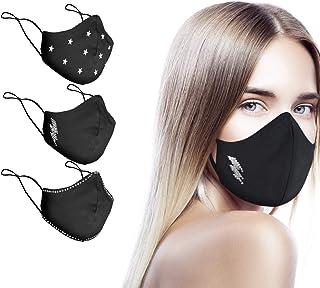 CHIC&LOVE | Banda Facial Negra para Mujer con Diseño Original con Cristales | AntiPolvo y AntiPolen Negra Estampado y Lava...