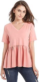 ZURIFFE Women's Summer V Neck Short Sleeve Cotton Loose T Shirts Ruffle Babydoll Peplum Swing Top Tees