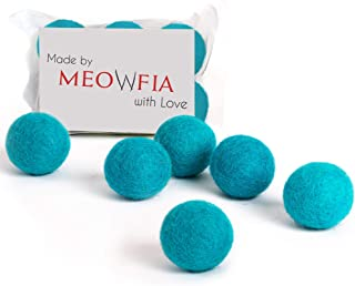 MEOWFIA Wool Ball Toys - 6-Pack of Safe for Cats and Small Dogs Balls - 1.5 Inch Felted Wool Cat Toy and Dog Toy - Perfect...