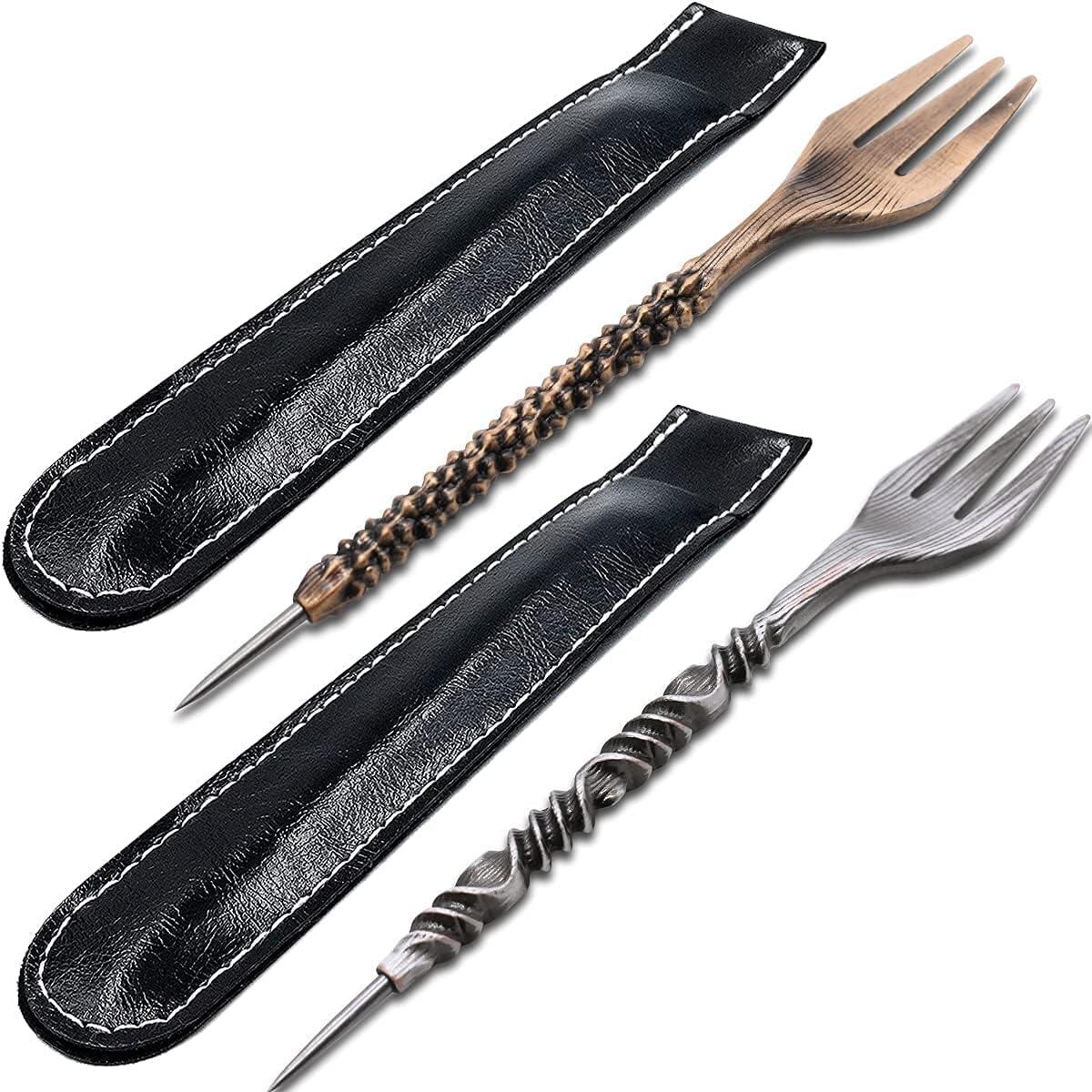 Tenedor para tabaco Accesorios de Metal Hookah Tenedor Punzón 2 en 1 para Cachimba Shisha, Tenedor Triangle Cono Tenedor para Tabaco,Perforador