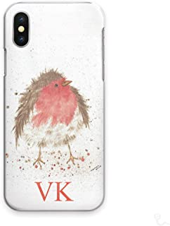 Personalized Initials Cell Phone Case for OnePlus 5T, Watercolour Art Print, Robin with Custom Red Initial on Hard Cell Phone Cover