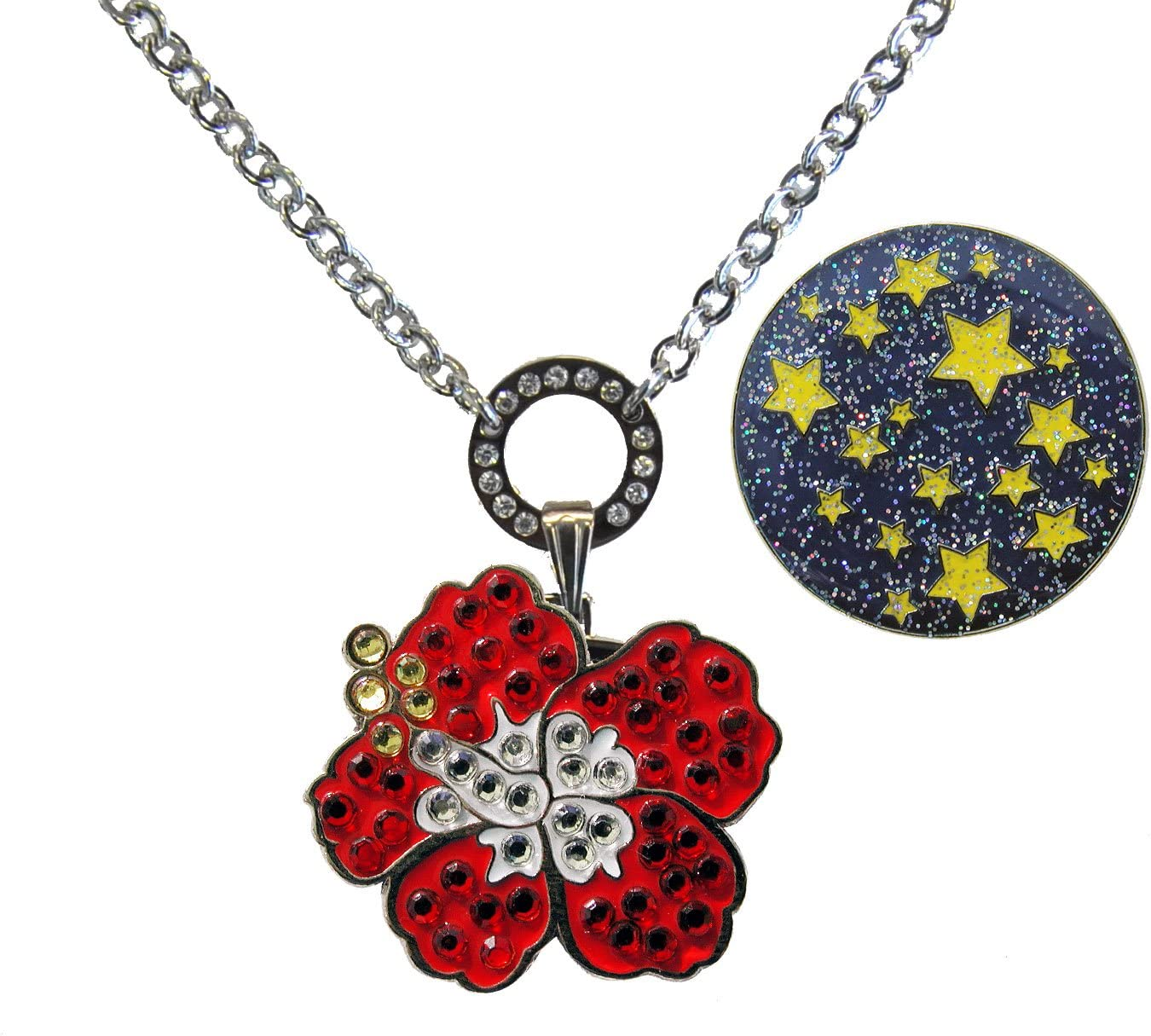 half Magnetic Ball Marker Necklace with Hibiscus Max 67% OFF Adorned Red Gen