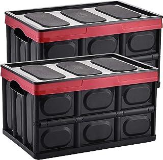 Yorbay Set de 2 Boîtes de Rangement Pliable avec Couvercle Caisse Pliable, Boîte Rangement pour Vêtement, Décoration, Joue...