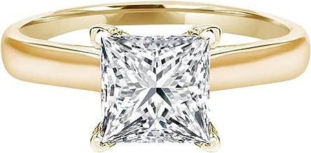 Clara Pucci 1.2 Ct Princess Brilliant Cut Solitaire Engagement Wedding Bridal Anniversary Ring 14K Yellow Gold