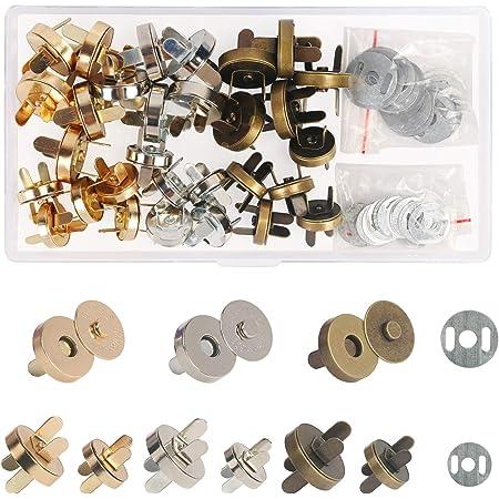 ZERHOK Fermoir Bouton magnetique Circulaire,30sets Fermoir Magnétique RivetBouton pour Bricolage aimants Sacs à Mains vêtements,Trois Couleur (14mm/18mm)