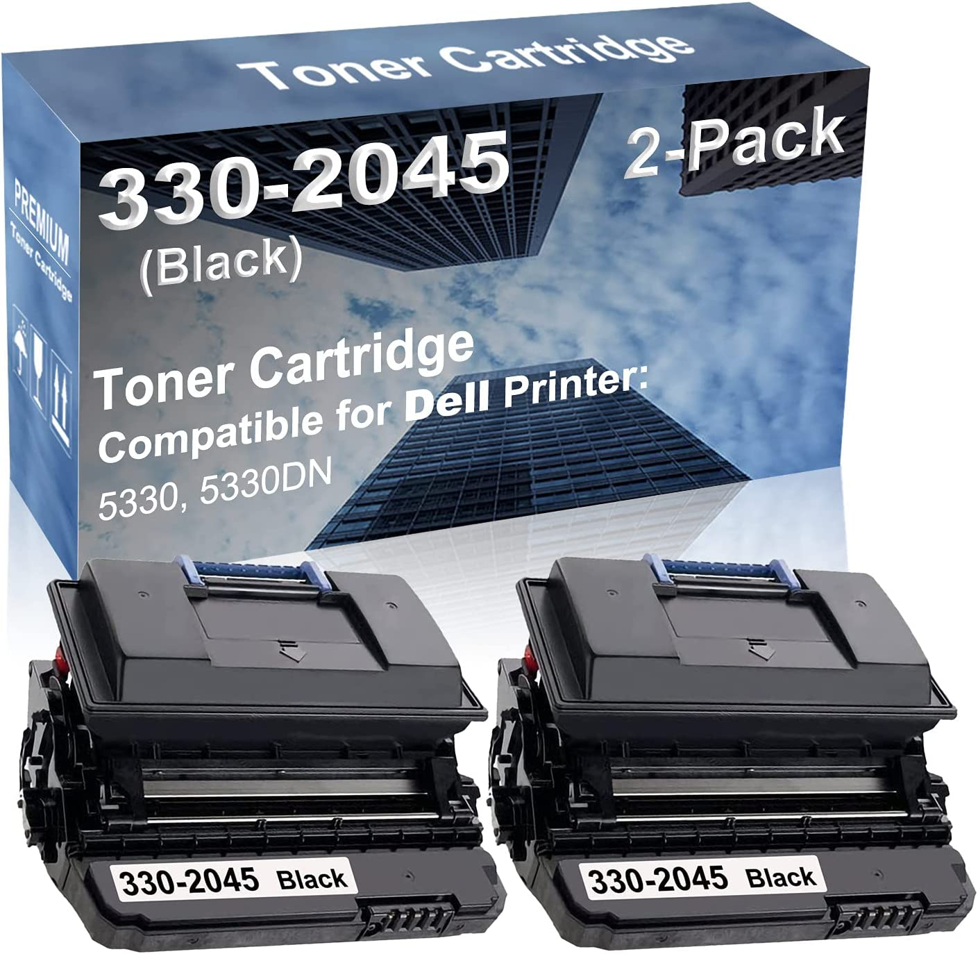 2-Pack Compatible High Capacity 5330, 5330DN Printer Toner Cartridge Replacement for Dell 330-2045 Printer Cartridge (Black)