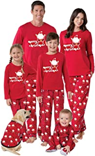 Yunbai Pjs Navidad for Matching Familiar Pijamas Set, Impreso de Navidad Inicio Desgaste Europeo y Americano de Navidad Rojos Padres e Hijos Pijamas Sistema de Dos Piezas