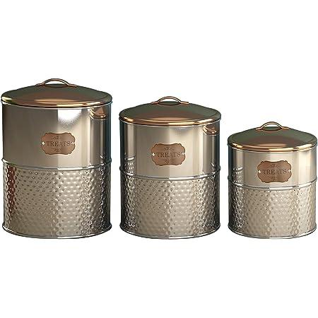 Dog Treats Tin Copper Biscuit Pet Kitchen Cannister Storage