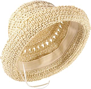 قبعة شمس للنساء من boderier قبعة Raffia مع قبعة شمس منسوجة يدويًا بحافة مرنة قبعة الصيف وإكسسوارات الشاطئ