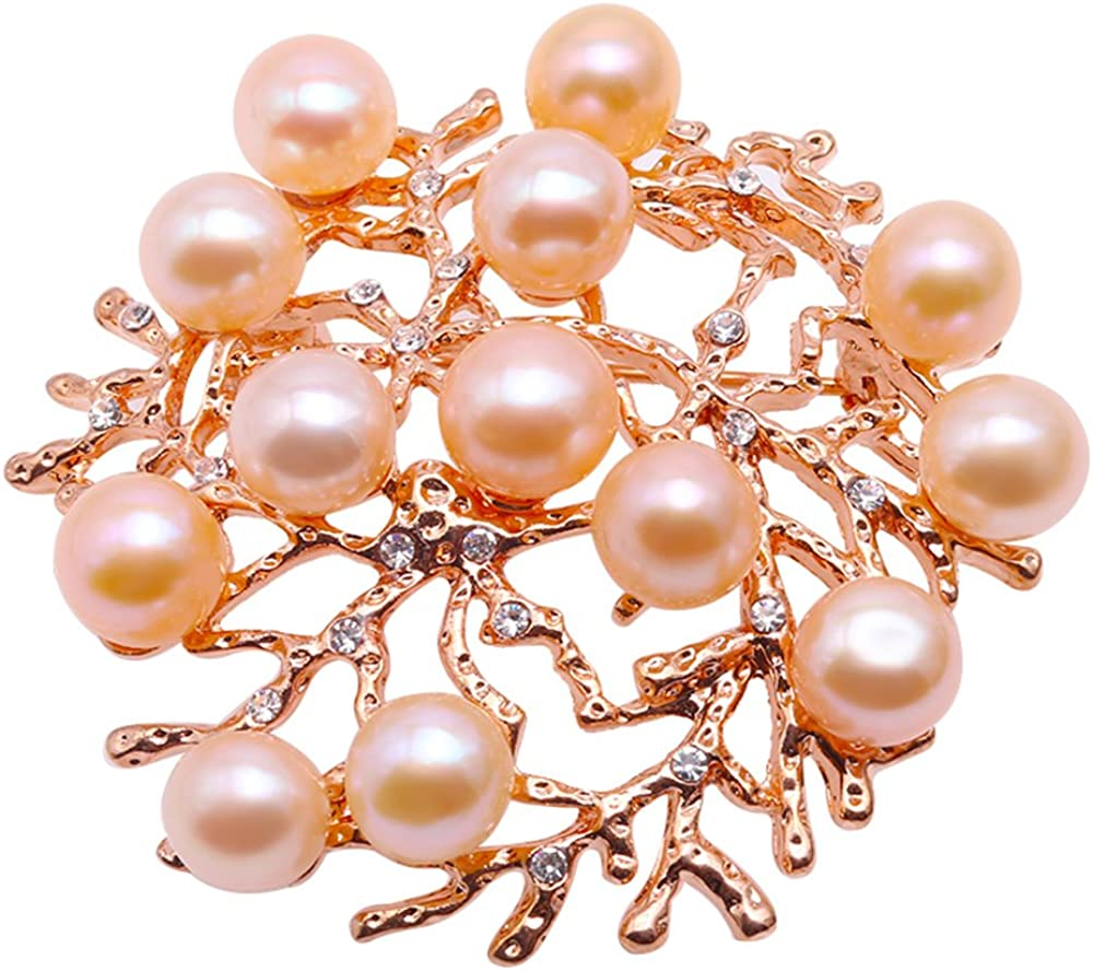 JYX Colorful Freshwater PearlFreshwater Pearl Brooch Pin Zircon-Inlaid