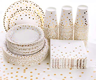 Best 201PCS Disposable Plates Gold Party Supplies, Golden Polka Dots Paper Plates, include 50 Dinner Plates,50 Dessert Plates,50 Napkins 50 Cups, 1 Plastic Tablecloth,for Baby Shower Wedding Birthday Review