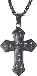 AX Jewelry Mens Cross Pendant in Black Carbon Fiber & Stainless Steel