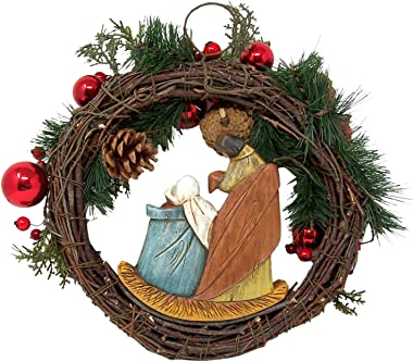 Autom Artificial Greenery Christmas Holy Family Nativity Wreath for Door, 15 Inch