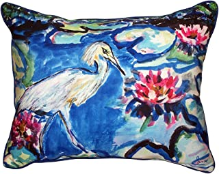 "Betsy Drake SN551 Heron & Waterlilies Pillow,,11"" X14"""