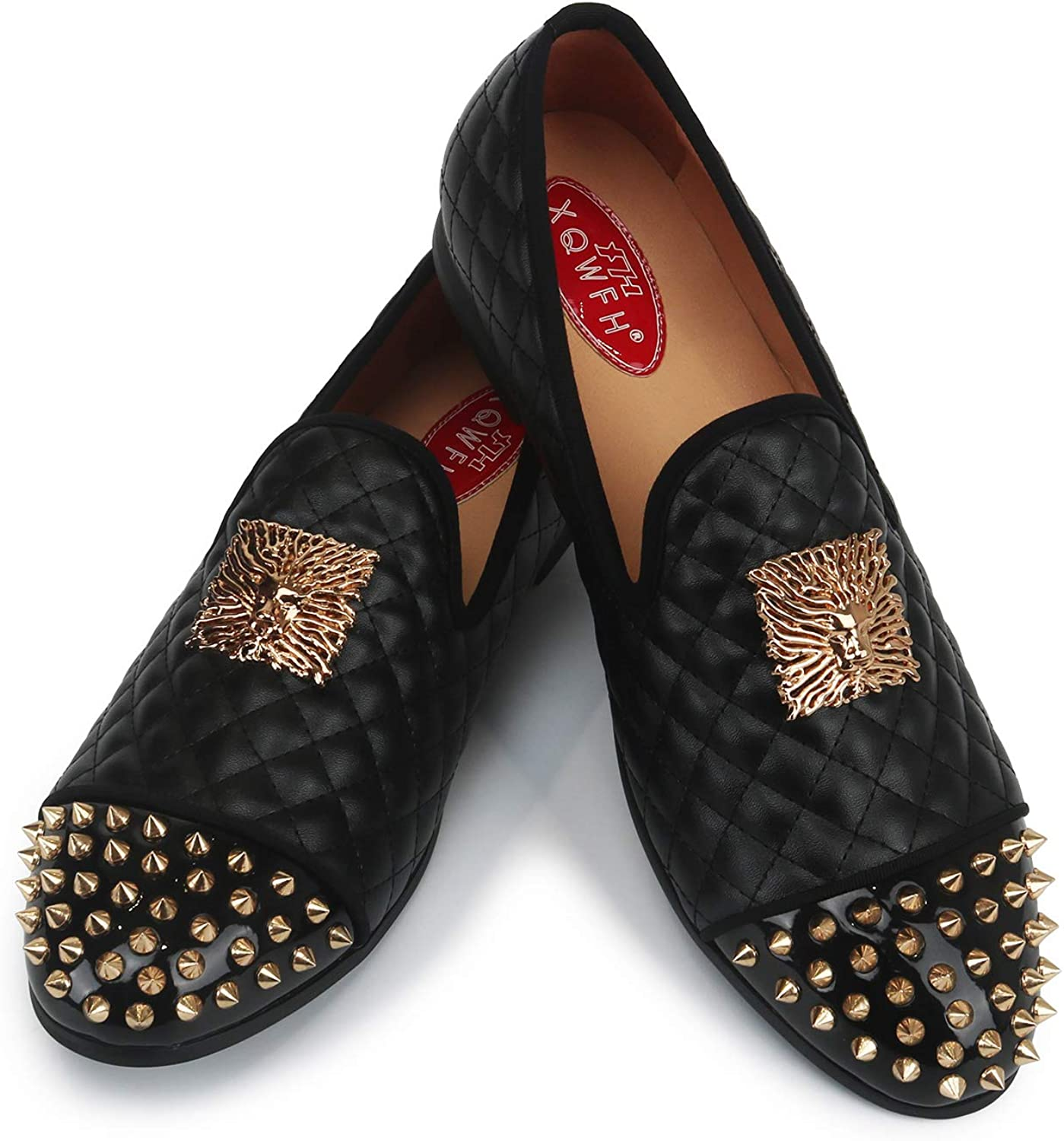 XQWFH Mens Leather Loafers 直営ストア 格安 価格でご提供いたします Spiked Dress with P Buckle Shoes Gold
