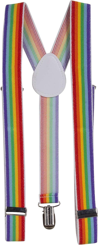 Rainbow Multi Color Elastic Braces Clip On Suspenders