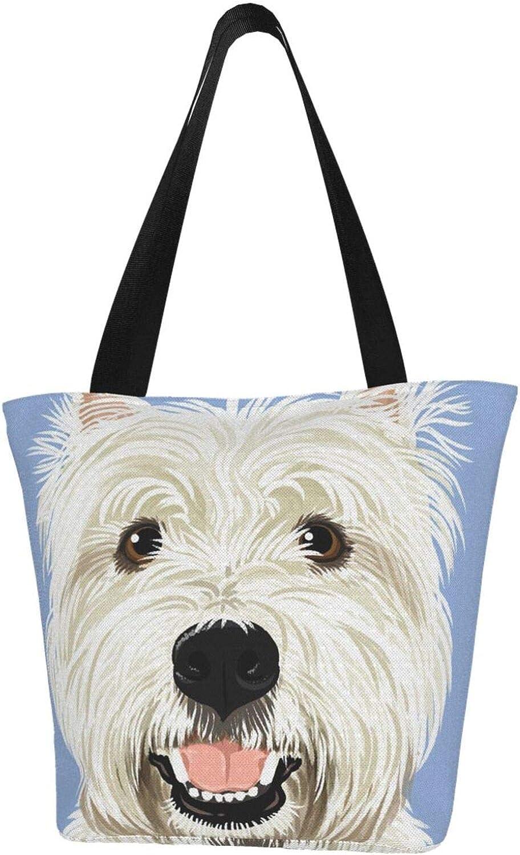 Westie West Highland Terrier Happy Dog Themed Printed Women Canvas Handbag Zipper Shoulder Bag Work Booksbag Tote Purse Leisure Hobo Bag For Shopping