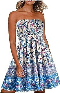 Women Summer Bohemian Print Sleeveless Dresses, Off Shoulder Strapless Long Maxi Summer Beach Swing Dress