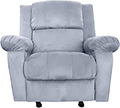 Rocking & Rotating Recliner Upholstered Chair with Controllable Back - Grey - AB02