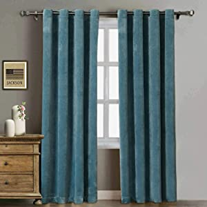 Rose Home Fashion Velvet Curtains for Living Room - Soft Luxury Thermal Insulated Curtains, Grommet Curtains, Set of 2 Panels (50x96 Aqua Mist)