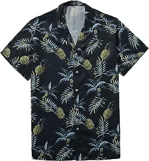Men's Short Sleeve Tropical Pineapple Shirt Beach Hawaiian Shirt