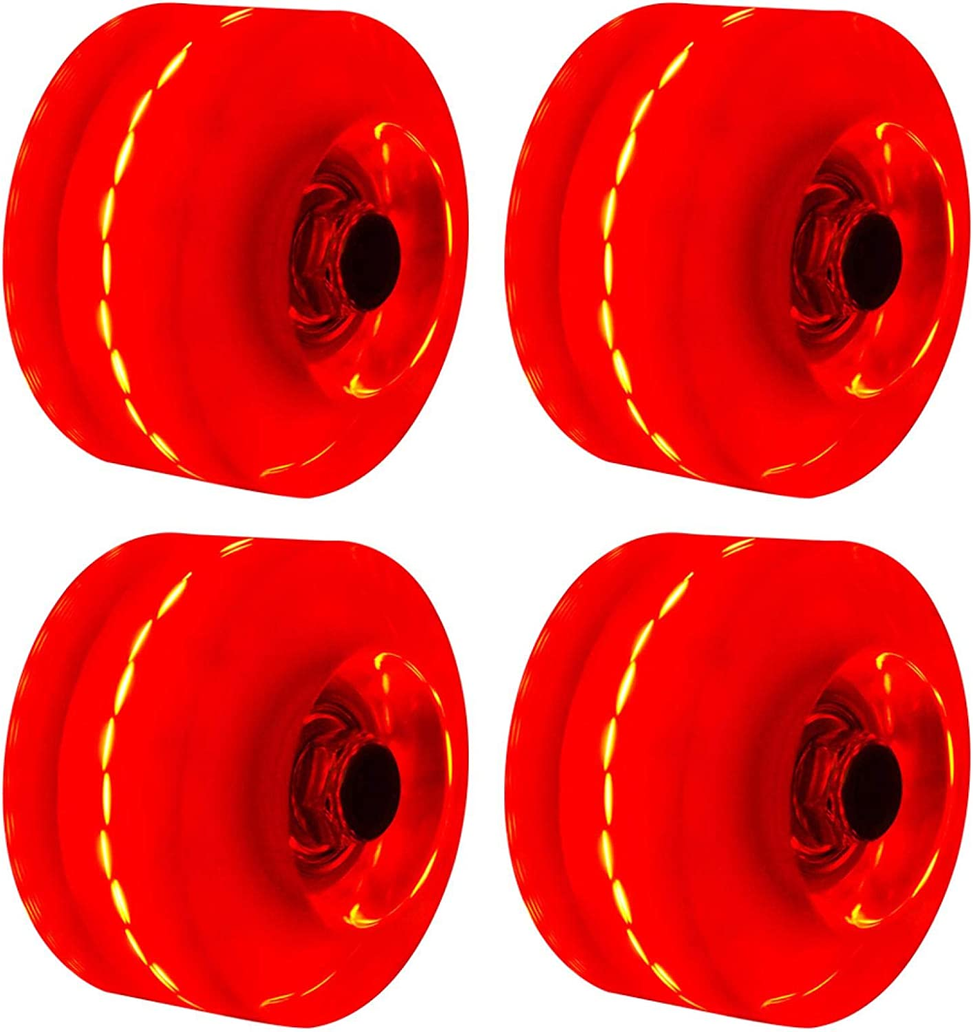 CALIDAKA 4pcs//Set Roller Skate Wheels Luminous Light Up Skateboard Wheels Quad Rollerskate Wheels with Bearings Replacement Inline Skate Wheels for Double Row Skating and Skateboard