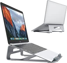 Laptop Stand, SLYPNOS Aluminum Cooling MacBook Stand, Portable Tilted Elevated Laptop Riser with Non-Slip Pads and Front Lip for MacBook Air, MacBook Pro, Laptop & Notebook (Silver-1)