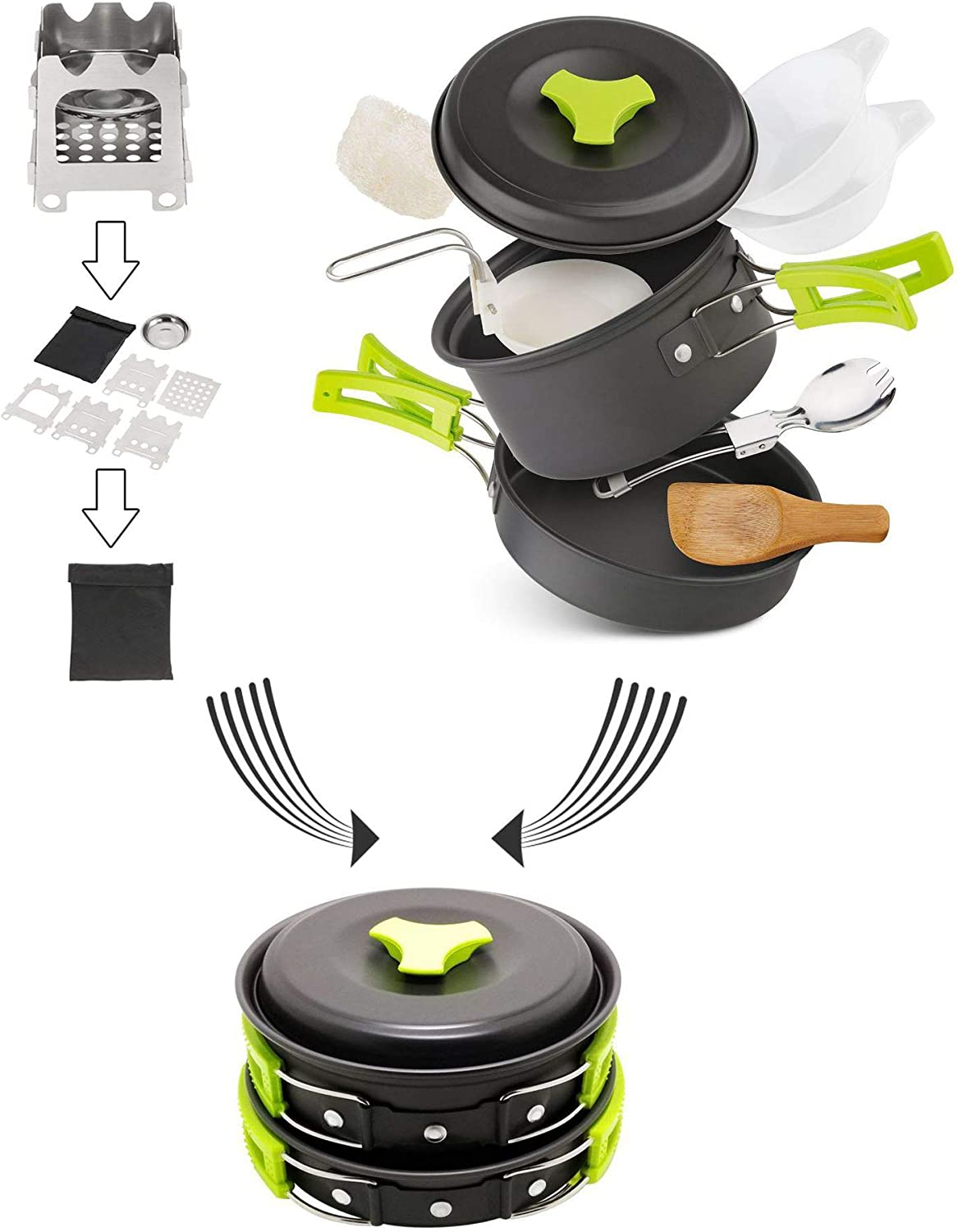 ZMEETY Camping Ustensiles De Camping Camping en Plein Air Set De Camping en Plein Air Ensemble pour Casserole Et Poêle 1-2 Personnes Wild BBQ Grill Green