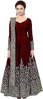 DS Women's Taffeta Silk Embroidered Semi-Stitched Anarkali Gown(free size)(MAROON)